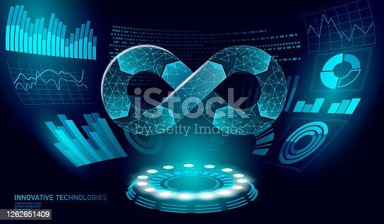 istock Devops software development operations infinity symbol. Programmer administration HUd display system. Coding building testing release monitoring. Online freelance vector illustration 1262651409