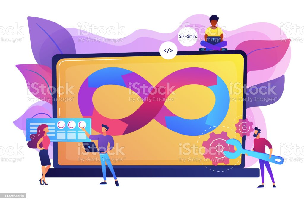 DevOps team concept vector illustration - Royalty-free Abstract stock vector