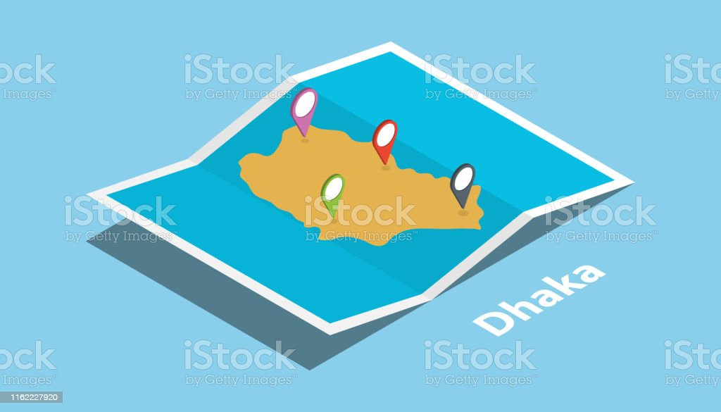 dhaka bangladesh explore maps location with folded map and pin...
