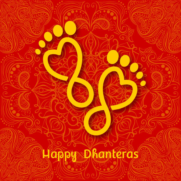 dhanteras. indian dhanteras diwali festival celebration background. happy dhanteras. maa lakshmi footprint - inauguration stock illustrations