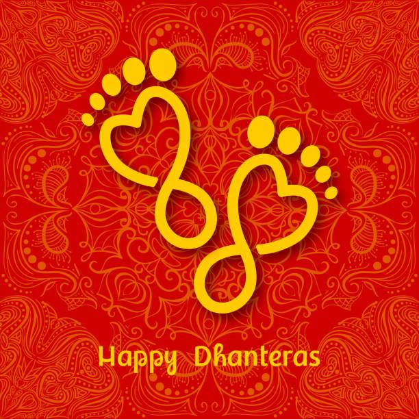 dhanteras. hint dhanteras diwali festivali kutlama arka plan. mutlu dhanteras. maa lakshmi ayak izi - inauguration stock illustrations