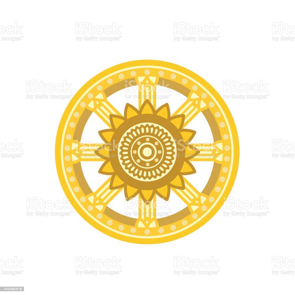 Dharma Wheel Dharmachakra Icon Vector Illustration Buddhism Symbol