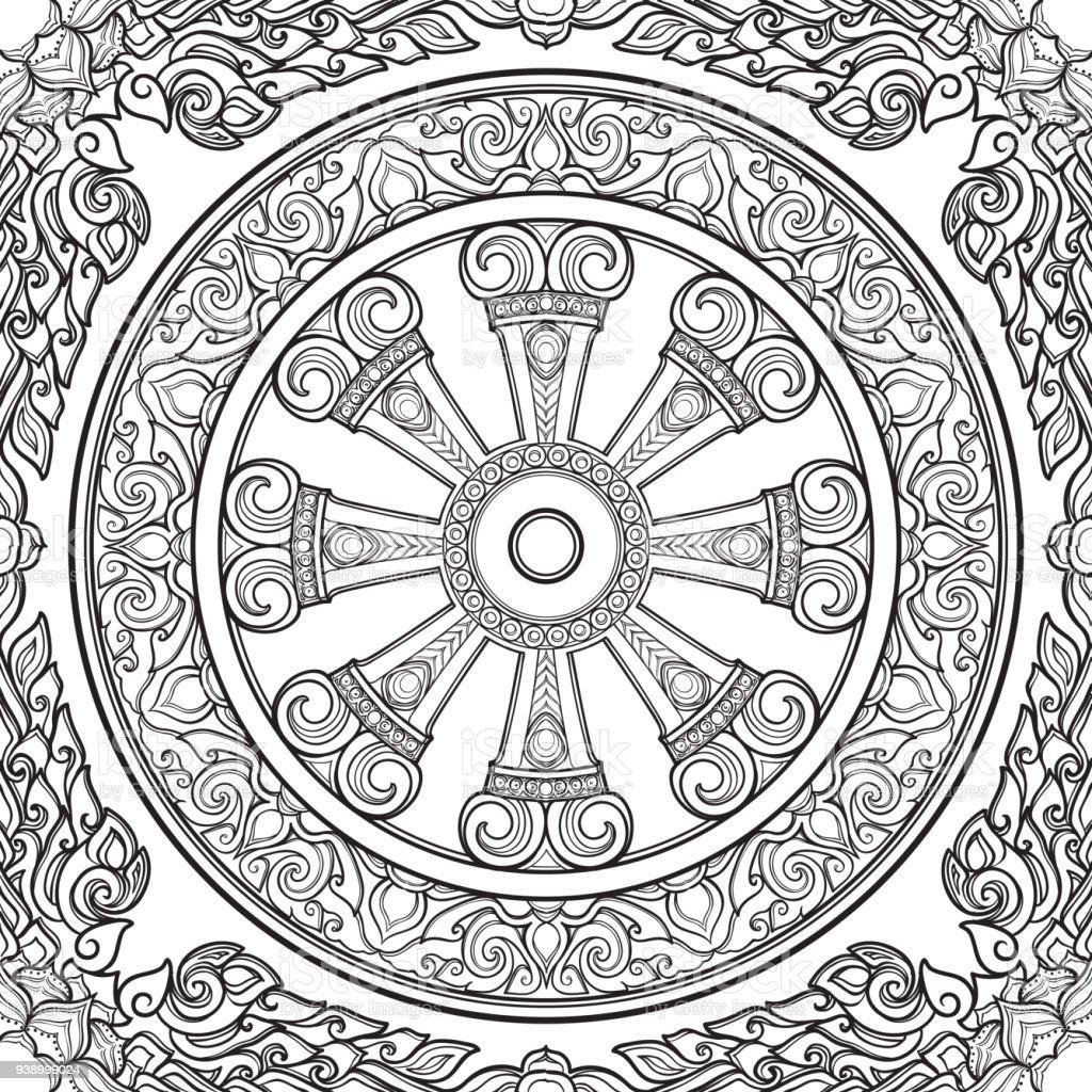 Ilustración de Rueda De Dharma Dharmachakra Símbolo De Las ...