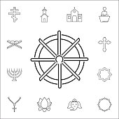 Dharmachakra / Wheel of Dharma icon. Set of religion icons. Web Icons Premium quality graphic design. Signs, outline symbols collection, simple icons for websites, web design, mobile app