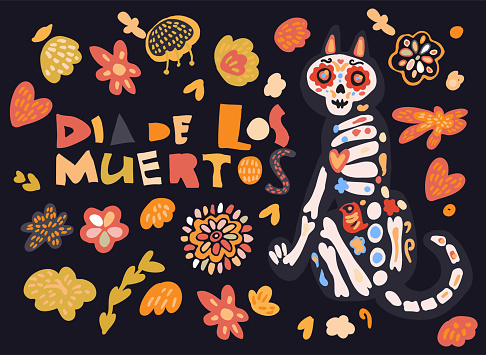 Dia de los muertos celebration card with cute cartoon cat painted as sugar skull calavera, flowers hand drawn in traditional style. Text translation: Day of the Dead.