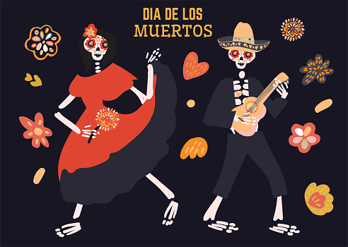 Dia de los muertos celebration card with two cute cartoon skeletons dancing, playing music, flowers hand drawn in traditional style. Text translation: Day of the Dead.