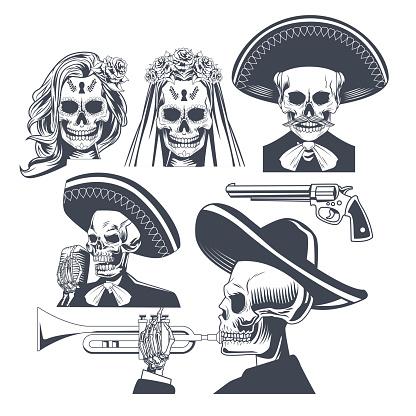 dia de los muertos celebration with bundle icons drawing