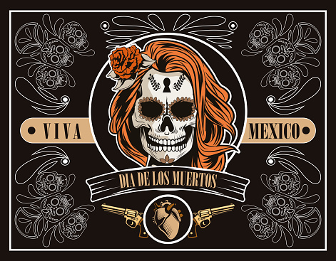 dia de los muertos celebration with woman skull and heart in brown background