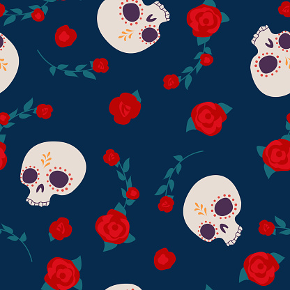 Dia de los muertos, Day of the dead, Mexican festival. Vector seamless pattern with sugar skulls and roses.
