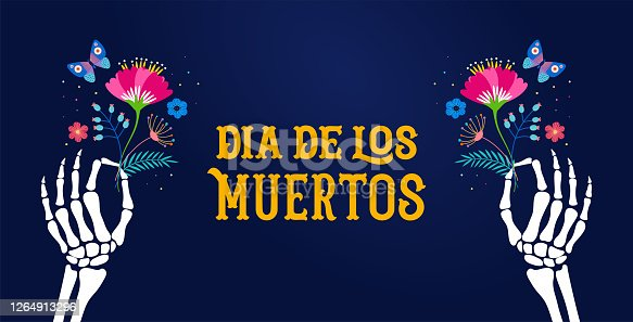 Dia de los muertos, Day of the dead, Mexican holiday, festival. Vector poster, banner and card template with skeleton hands holding flowers, cocktail drink. Vector illustration