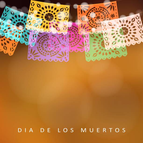 Dia de Los Muertos, Tag der Toten oder Halloween Karte, Einladung. Party Dekoration Lichterkette, handgemachte schneiden Partei Fahnen. Moderne bunte verschwommene Vektor-Illustration, Hintergrund – Vektorgrafik
