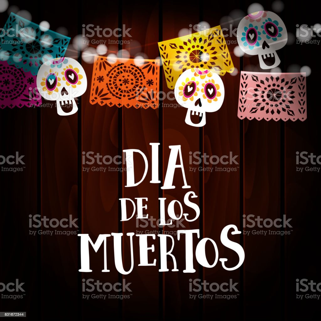 Dia de los Muertos, Day of the Dead or Halloween card, invitation with string of lights, sculls and paper cut party flags. Old wooden background. Vector illustration background vector art illustration