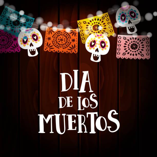 Dia de Los Muertos, Tag der Toten oder Halloween-Karte, Einladung mit String von Lichtern, Schädeln und Papier geschnitten Partei Fahnen. Alte hölzerne Hintergrund. Vektor-Illustration-Hintergrund – Vektorgrafik