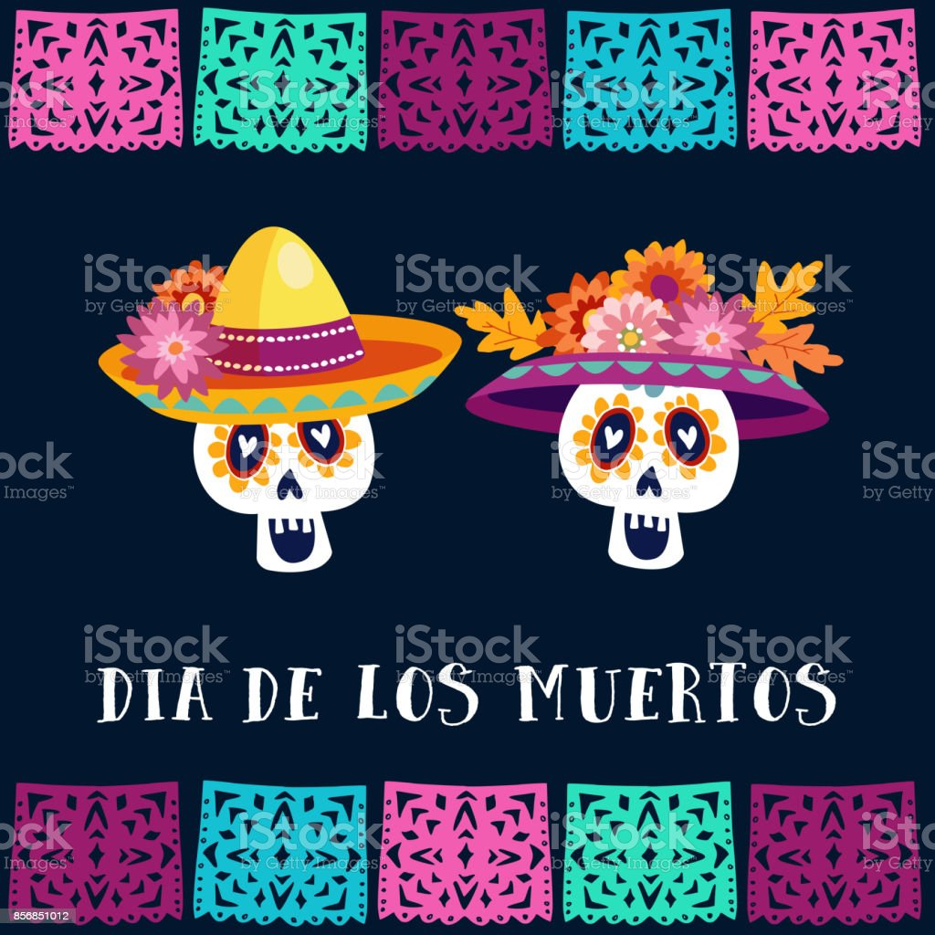 Dia de Los Muertos, Day of the Dead or Halloween greeting card, invitation. Party decoration with sugar skulls and handmade cut flags. Vector illustration background vector art illustration