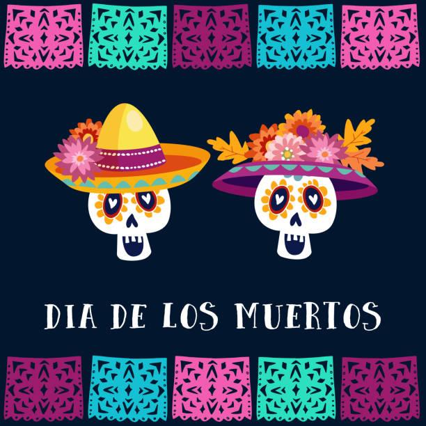 Dia de Los Muertos, Tag der Toten oder Halloween Grusskarte, Einladung. Party Dekoration mit Zucker Schädel und handgemachte schneiden Fahnen. Vektor-Illustration-Hintergrund – Vektorgrafik