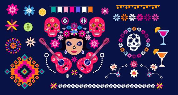 Dia de Los Muertos, Day of the Dead or Halloween set elements.