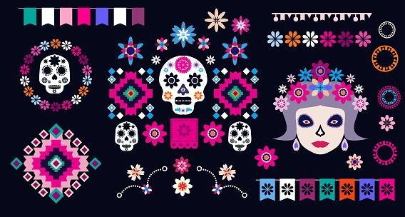 Dia de Los Muertos, Day of the Dead or Halloween