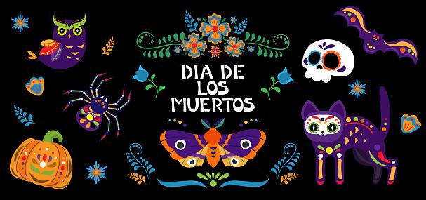 Dia de los muertos - Day of the dead set. Sugar skull, cat, bat, pumpkin, owl, spider, moth and flowers.