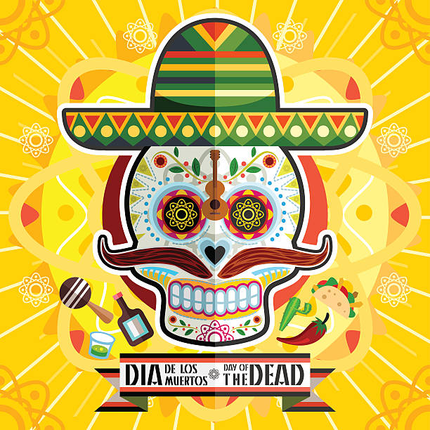 Dia De Los Muertos Day Of The Dead Skull vector art illustration