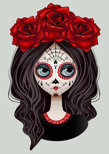 Dia De Los Muertos girl face painting, mexican holliday. Vector design