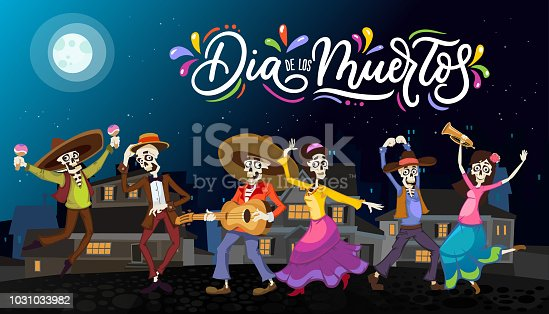 istock ПечатьDia de los Muertos greeting card for Day of the Dead. Greeting v 1031033982