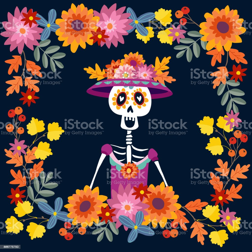 Dia De Los Muertos Greeting Card Invitation Mexican Day Of