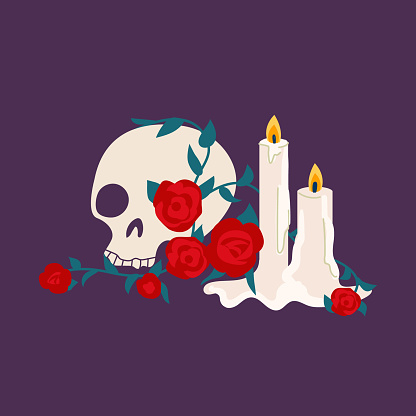 Dia de los muertos illustration. Sugar skull with candles and roses