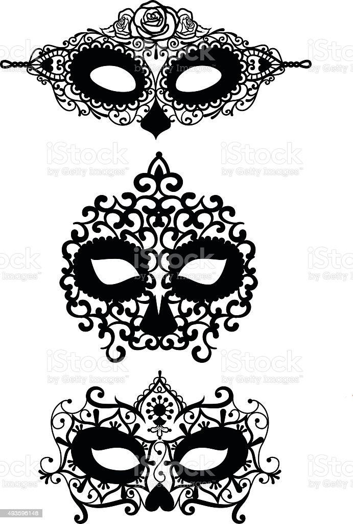 Dia De Los Muertos Lace Mask Templates Stock Vector Art & More ...