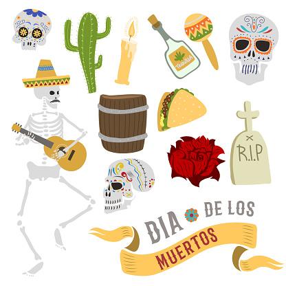 Dia de los muertos Mexica Dead Day celebration dead skull bones man and symbols. Skull catrina party culture vintage Dead Day symbols. Traditional festival happy mexican carnival illustration