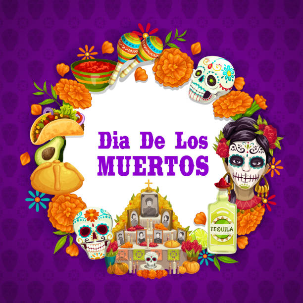 Dia de los Muertos Mexican Day of Dead celebration Day of Dead or Dia de los Muertos Mexican holiday symbols on calavera skull and marigold flower pattern background. Vector Day of Dead altar with photos and candles, tequila and traditional food avocado borders stock illustrations