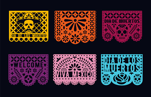 Dia de los muertos - mexican Day Of The Dead. Cut Out Paper cards set. Papel picado collection.