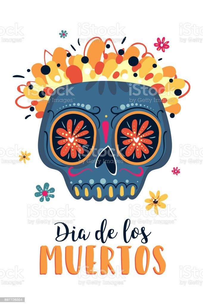 Dia de los muertos mexican day of the dead greeting card with dia de los muertos mexican day of the dead greeting card with lettering m4hsunfo