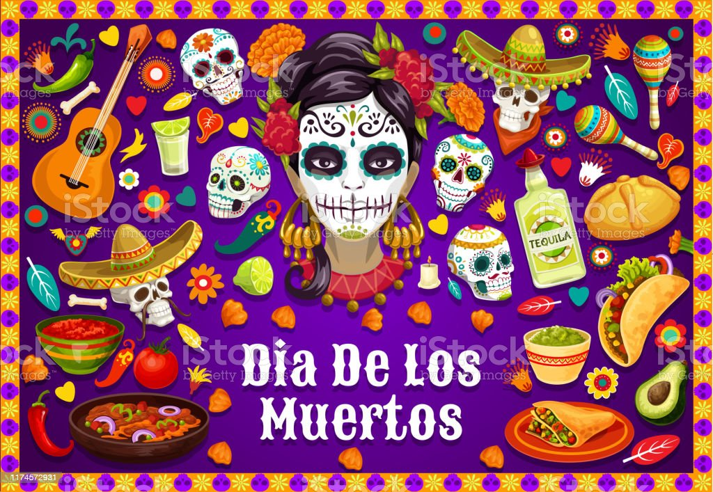 Dia De Los Muertos Mexican Skulls And Fiesta Food Stock Illustration Download Image Now Istock