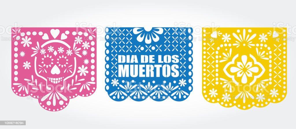 dia de los muertos mexican traditional bunting banner vector papel