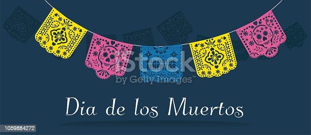 Dia de los muertos (day of the dead) Mexican  traditional bunting banner vector. Papel picado background.