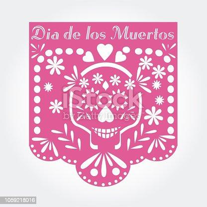 Dia de los muertos (day of the dead) Mexican  traditional bunting banner vector.