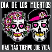 Dia de los Muertos or Day of the Dead Placard with female and male skulls.