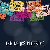 Dia de los Muertos or Halloween card, invitation. Mexican Day of the Dead. Garland of lights, handmade cut colorful party flags. Vector illustration background