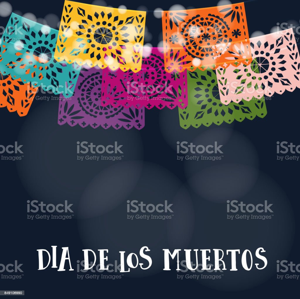 Dia de los Muertos or Halloween card, invitation. Mexican Day of the Dead. Garland of lights, handmade cut colorful party flags. Vector illustration background vector art illustration