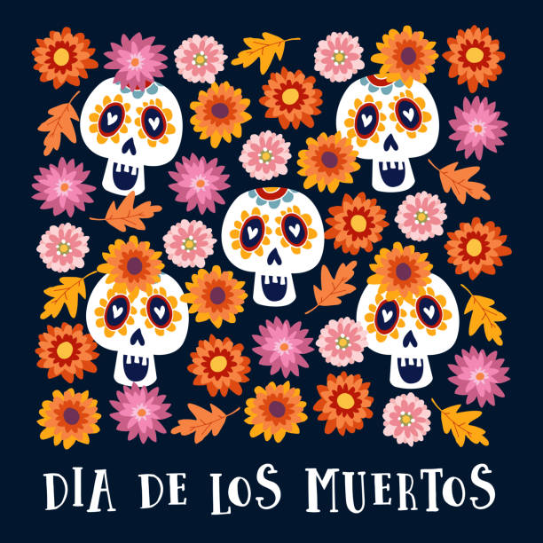 Dia de los Muertos or Halloween greeting card, invitation. Mexican Day of the Dead. Decorative Calavera catrina skulls and colorful autumn leaves and flowers. Hand drawn vector background, pattern vector art illustration