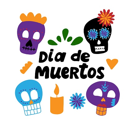 Dia de los muertos quote with sugar skulls and candle. Happy Day of the Dead. All soul day, mexicano tradicional festive family holiday. Remembering. Spanish ethnic carnival. Hand lettering.