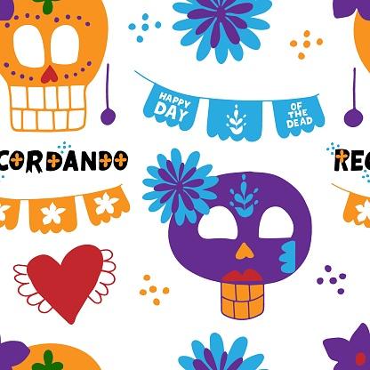 Dia de los muertos seamless pattern with sugar skull, papel picado, recordando hand lettering quote. Mexicano ethnic traditional fiesta background