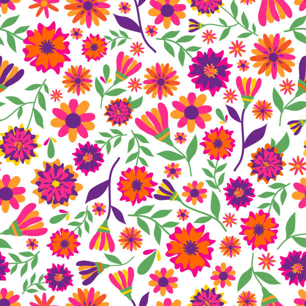Dia de los muertos seamless vector pattern with marigold flowers. The main symbols of the holiday on the white background. Day of the dead. Dia de los muertos seamless vector pattern with marigold flowers. main de dieu stock illustrations