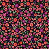 Dia de los muertos seamless vector pattern with marigold flowers.