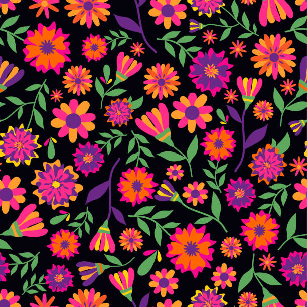 Dia de los muertos seamless vector pattern with marigold flowers. The main symbols of the holiday on the dark background. Day of the dead. Dia de los muertos seamless vector pattern with marigold flowers. main de dieu stock illustrations