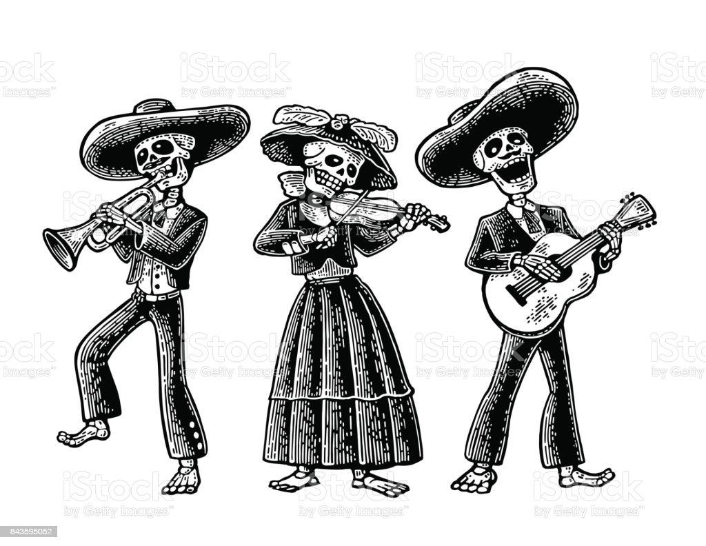 Dia De Los Muertos Skelett In Der Mexikanischen Trachten Stock ...