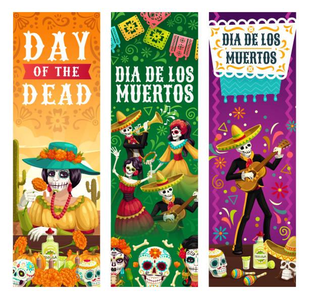 bildbanksillustrationer, clip art samt tecknat material och ikoner med dia de los muertos, skelett skallar party fiesta - latino music