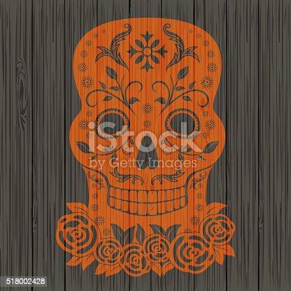 Dia de los muertos skull for day of the dead mexican holiday.