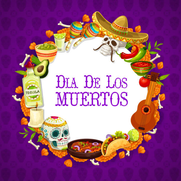 Dia de los muertos traditional mexican signs frame Day of dead mexican holiday banner with traditional Dia de los muertos signs in round frame. Vector guitar and tequila, maracas and burning candle, calavera and nachos. Bones and enchilada, burritos avocado borders stock illustrations