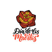 Dia De Los Muertos translated from Spanish Day of the Dead handwritten phrase. Vector illustration of rose flower.